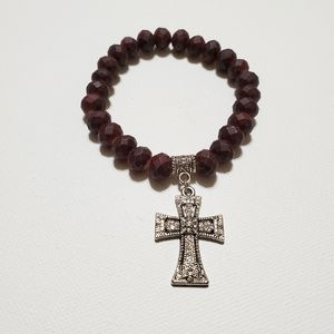 Accessories - Men's Bracelet Brown Faceted Beads Silver Cross